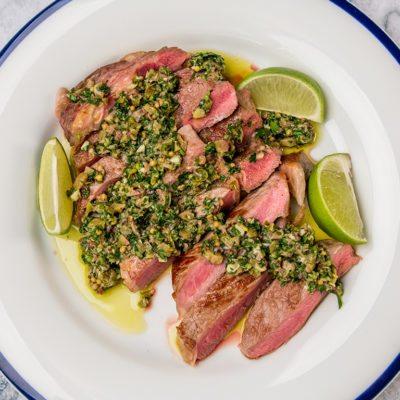 Rib-Eye Steak with Parsley and Mint Salsa