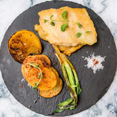 fried cod with roasted chili potatoes