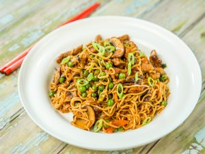Beef, Mushrooms and Peas Noodles