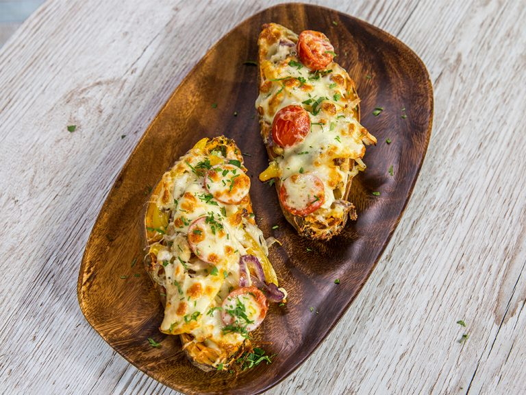 Chicken-Filled Roasted Sweet Potatoes