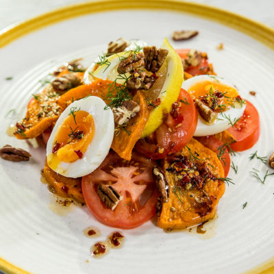 Baked Butternut Squash, Tomato and Egg Salad