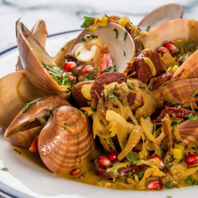 chorizo and white wine steamed clams