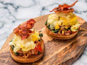 Bacon, Egg and Spinach Bruschetta