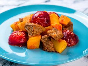 plum, potato and beef stew