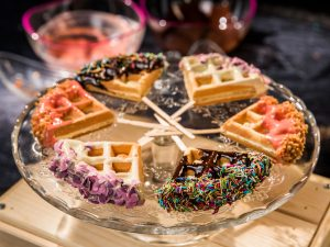 chocolate waffle pops with sprinkles