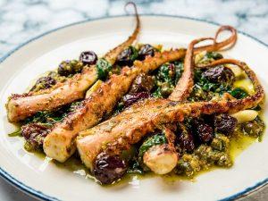 warm octopus tentacle salad