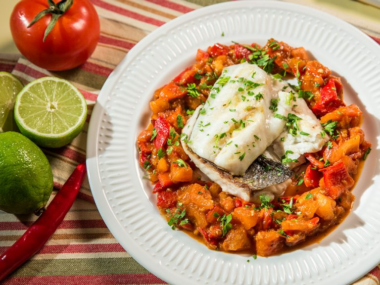 Sea Bream with Tomato and Red Pepper Stew
