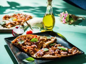 Sausage, Tomato and Basil Pizza