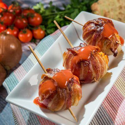 bacon-wrapped veggie onion bombs