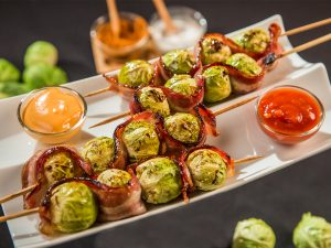 honey glazed brussel sprouts and bacon skewers