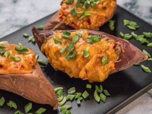 Chicken and Cheese Stuffed Sweet Potatoes