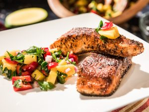 Hot and Spicy Salmon with Mango Salad