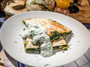 spinach quesadilla with tzatziki
