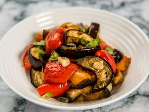 Roasted Eggplant and Bell Pepper Salad