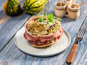 Mushroom Spaghetti in Bacon Nest