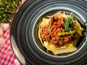 Tagliatelle with Asparagus and Bolognese Sauce