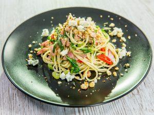 Spaghetti with Bacon and Arugula